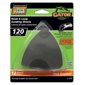 Gator 12-Pack 120-Grit 3-in W x 3-in L Hook and Loop Detail Sanding Sheet Sandpaper