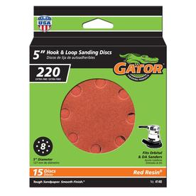 Gator 15-Pack 220-Grit 5-in W x 5-in L 8-Hole Hook and Loop Sanding Disc Sandpaper
