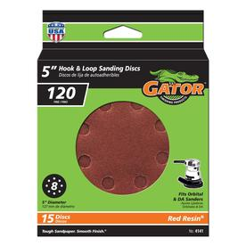Gator 15-Pack 120-Grit 5-in W x 5-in L 8-Hole Hook and Loop Sanding Disc Sandpaper