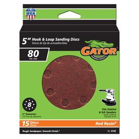 Gator 15-Pack 5-in W x 5-in L 80-Grit Commercial 8-Hole Hook and Loop Sanding Disc Sandpaper