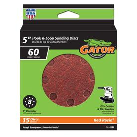 Gator 15-Pack 5-in W x 5-in L 60-Grit Commercial 8-Hole Hook and Loop Sanding Disc Sandpaper