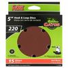 Gator 15-Pack 220-Grit 5-in W x 5-in L 5-Hole Hook and Loop Sanding Disc Sandpaper