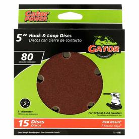 Gator 15-Pack 80-Grit 5-in W x 5-in L 5-Hole Hook and Loop Sanding Disc Sandpaper