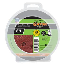 Gator 50-Pack 5-in W x 5-in L 60-Grit Commercial 8-Hole Hook and Loop Sanding Disc Sandpaper