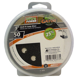 Gator 40-Pack 50-Grit 5-in W x 5-in L 8-Hole Hook and Loop Sanding Disc Sandpaper