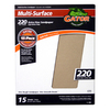 Gator 15-Pack 220-Grit 9-in W x 11-in L Multi-Surface Sandpaper