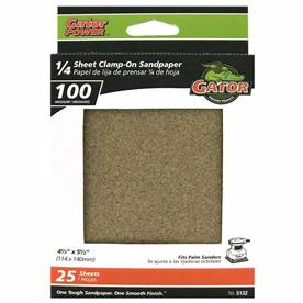 Gator 25-Pack 100-Grit 4-1/2-in W x 5-1/2-in L 1/4 Sheet Clamp-on Sandpaper