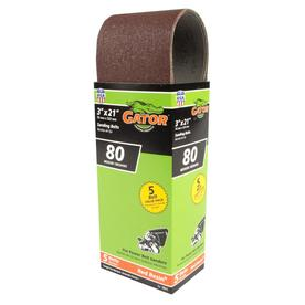 Gator 5-Pack 3-in W x 21-in L 80-Grit Commercial Sanding Belt Sandpaper