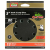 Gator 12-Pack 80-Grit 5-in W x 5-in L 8-Hole Hook and Loop Sanding Disc Sandpaper