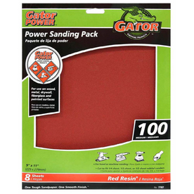 Gator 8-Pack 9-in W x 11-in L 100-Grit Commercial Multi-Surface Power Sandpaper