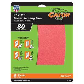 Gator 8-Pack 9-in W x 11-in L 80-Grit Commercial Multi-Surface Power Sandpaper