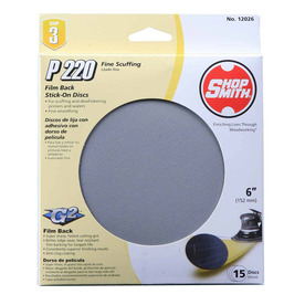 Shopsmith 15-Pack 6-in W x 6-in L 220-Grit Commercial Sanding Disc Sandpaper