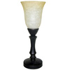 allen + roth 16-in Bronze Touch-On Uplight Table Lamp with Linen Glass Shade