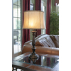 allen + roth Woodbine 28-in Dark Oil-Rubbed Bronze Indoor Table Lamp with Fabric Shade
