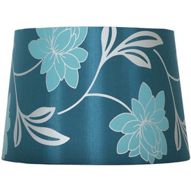 Portfolio 11 X 13 X 9&#034; BLUE FLORAL SCREEN PRINT DRUM LAMP SHADE