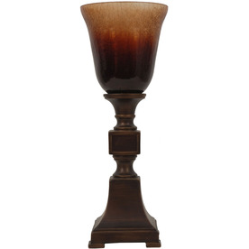 Jimco 16-in Bronze Indoor Table Lamp with Glass Shade
