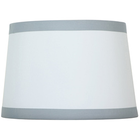 Style Selections 9-in x 13-in Off White with Silver Trim Drum Lamp Shade
