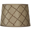 Portfolio 10-in x 14-in Gold with Brown Embroidery Drum Lamp Shade