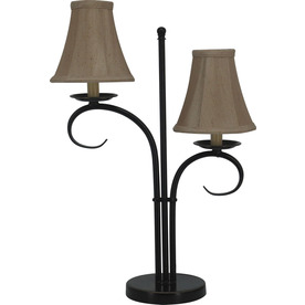 allen + roth 22-in Bronze Indoor Table Lamp with Fabric Shade