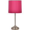 Jimco 18-1/2-in Brushed Steel Table Lamp with Hot Pink Shade