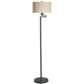 shop allen roth 58 in bronze indoor floor lamp with fabric shade at. Black Bedroom Furniture Sets. Home Design Ideas