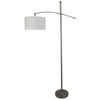 allen + roth 67-in Brushed Steel Floor Lamp with Off-White Shade