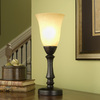 allen + roth 16-in Bronze Touch On/Off Indoor Table Lamp with Glass Shade