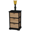 Style Selections 46-in Black Wicker Table Lamp with Amber Shade