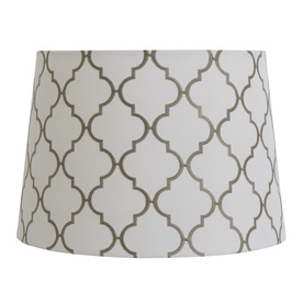 display product reviews for 9in x 13in white with gray embroidery fabric - Drum Lamp Shades