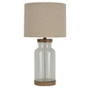 allen + roth Edensley 25.25-in Glass with Saddle Finish Indoor Table Lamp with Fabric Shade