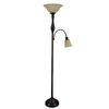Woodbine 72-in Dark Oil-Rubbed Bronze Torchiere with Side-Light Indoor Floor Lamp with Glass Shade