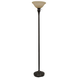 allen + roth 70-in 3-Way Bronze Torchiere Floor Lamp with Amber Shade