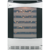GE Profile 57-Bottle Stainless Steel with Black Case Wine Chiller