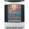 GE 5.3-cu ft Stainless with Black Case Freestanding Beverage Center