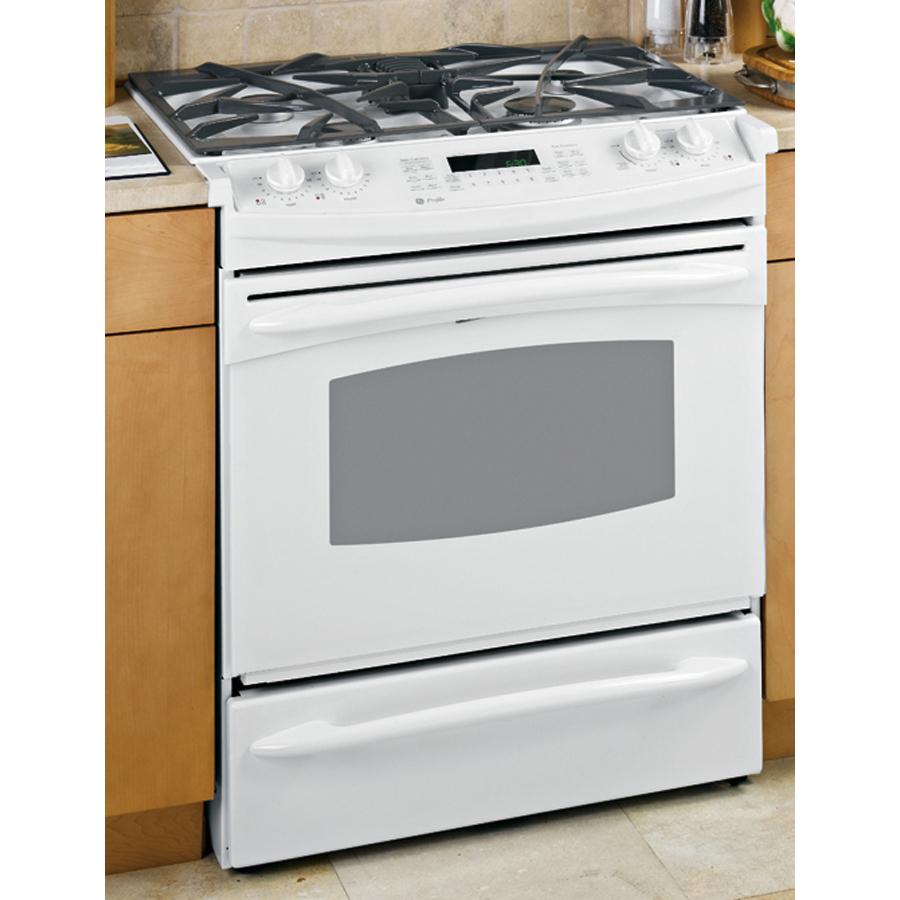 shop ge profile tm 30 inch slide in gas range color white at. Black Bedroom Furniture Sets. Home Design Ideas