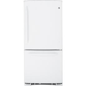 GE 20.2 cu ft Bottom Freezer Refrigerator (White) ENERGY STAR