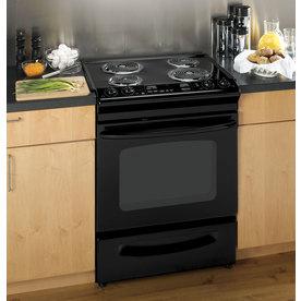 GE 30-in 4.4-cu ft Self-Cleaning Slide-In Electric Range (Black on Black)