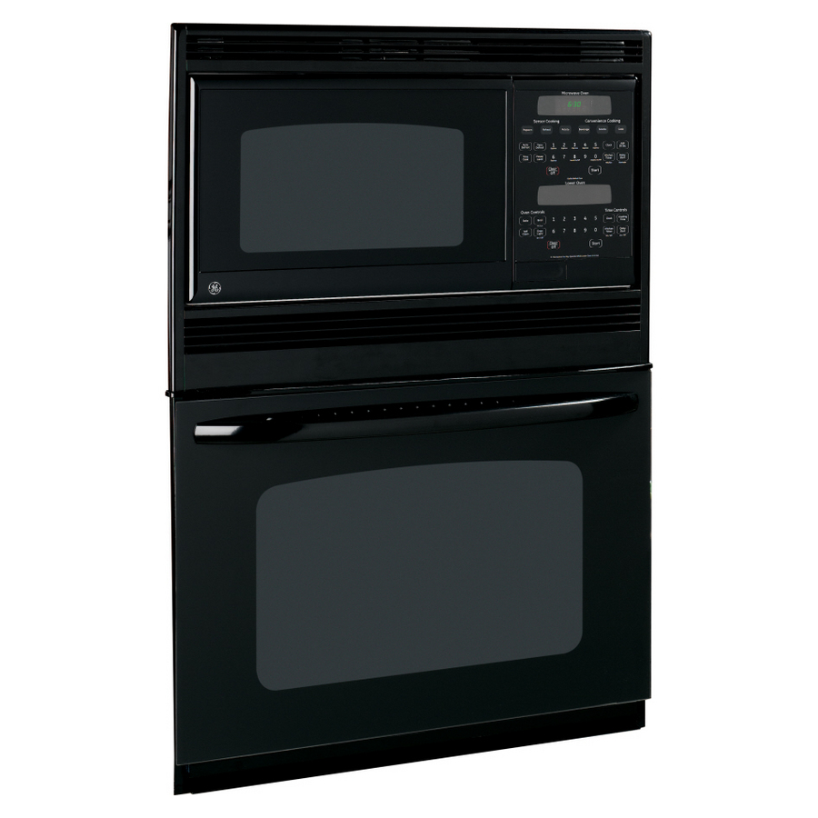 shop ge self cleaning microwave wall oven combo black on black