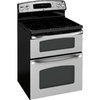 GE 30-in Smooth Surface 4-Element 4.4-cu ft / 2.2-cu ft Self-Cleaning Double Oven Electric Range (Stainless Steel)