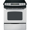 GE 30-in Smooth Surface 5-Element 4.1 cu ft Self-Cleaning Slide-In Convection Electric Range (Stainless Steel)