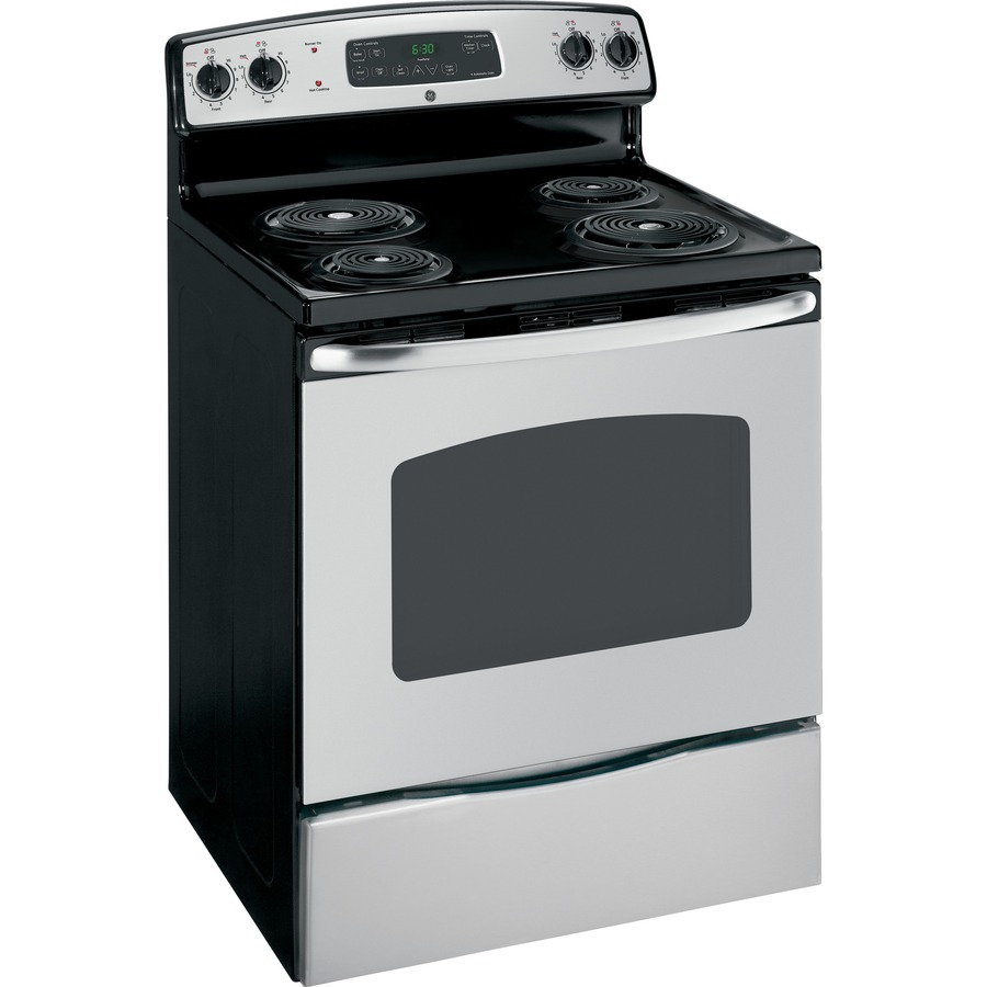 Stainless Steel Electric Stove ~ Shop ge freestanding cu ft self cleaning electric
