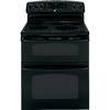 GE 30-in Smooth Surface 5-Element 2.2 cu ft/4.4 cu ft Self-Cleaning Electric Range (Black)