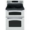 GE 30-in Smooth Surface 5-Element 2.2 cu ft/4.4 cu ft Self-Cleaning Electric Range (Stainless Steel)