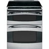 GE Profile 30-in Smooth Surface 5-Element 2.2 cu ft/4.4 cu ft Self-Cleaning Convection Electric Range (Stainless Steel)