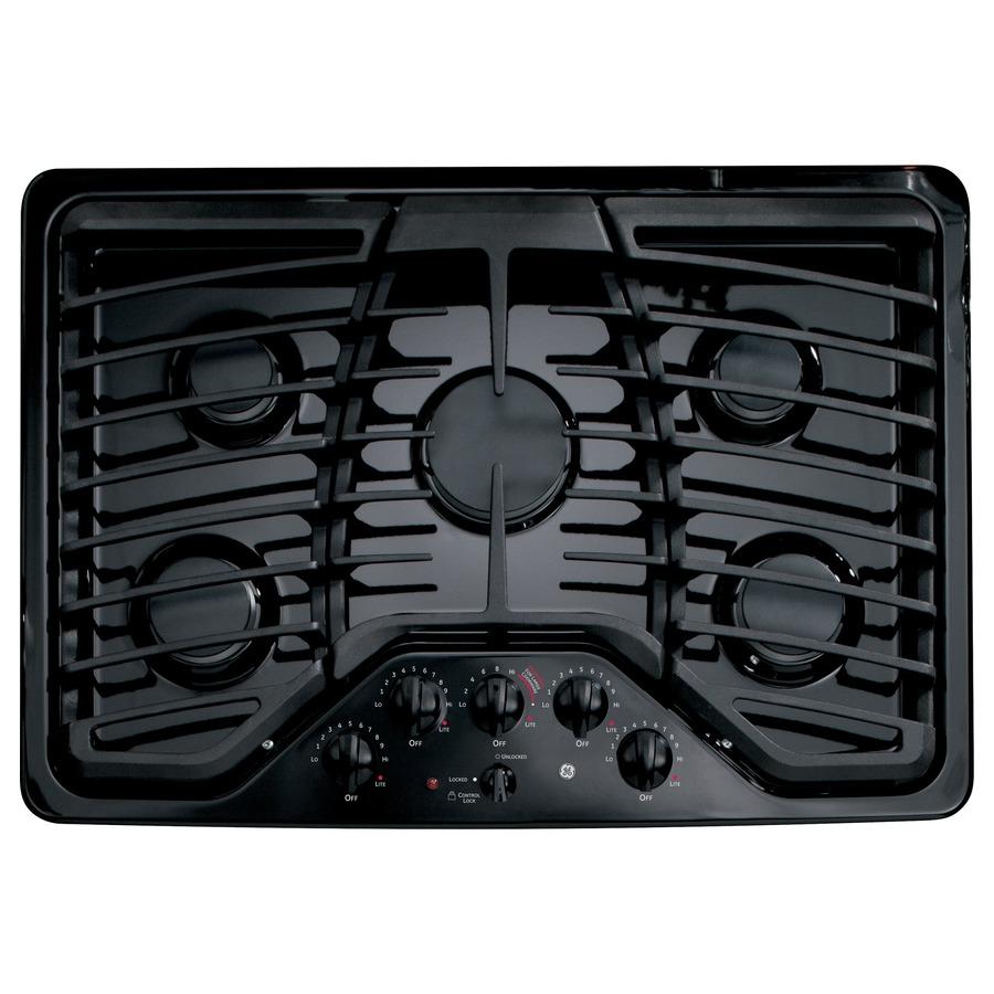 shop ge profile 5 burner gas cooktop black common 30 in actual 30 in at. Black Bedroom Furniture Sets. Home Design Ideas