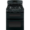GE 30-in 5-Burner 2.4 cu ft/4.3 cu ft Double Oven Convection Gas Range (Black)