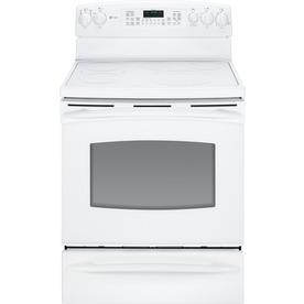 GE Profile 30-in Freestanding Smooth Surface 5-Element 5.3 cu ft Self-Cleaning Convection Electric Range (White)