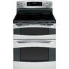 GE Profile 30-in Smooth Surface 6-Element 2.2 cu ft/4.4 cu ft Self-Cleaning Convection Electric Range (Stainless Steel)