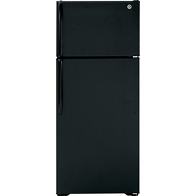 GE 18.1-cu ft Top-Freezer Refrigerator with Single Ice Maker (Black)