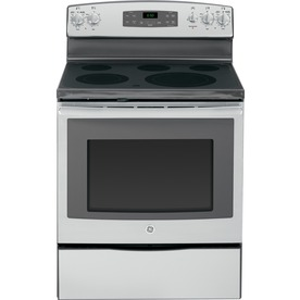 GE Smooth Surface Freestanding 5-Element 5.3-cu ft Self-Cleaning Electric Range (Stainless Steel) (Common: 30-in; Actual: 29.87-in)